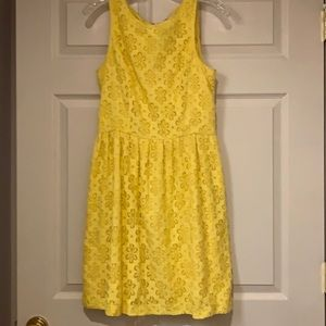 Kensie yellow lined lace fit and flare party dress